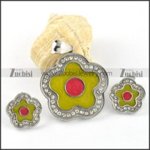 Epoxy Yellow & Red Plum Blossom Stainless Steel jewelry set-s000121