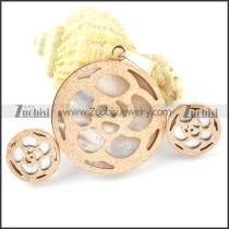 Rose Gold Flower Stainless Steel jewelry set-s000152