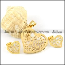 Gold Hollow Heart Stainless Steel jewelry set-s000128