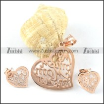 Rose Gold Hollow Heart Stainless Steel jewelry set-s000129
