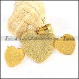 Gold Sand Blast Stainless Steel Heart Jewelry Set -s000078