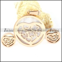 Rose Gold Shell Heart Stainless Steel jewelry set-s000157