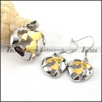 Hollow Heart Stainless Steel jewelry set with two plating -s000032
