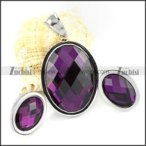 Clear Purple Faceted Oval Stone Stainless Steel jewelry set -s000059