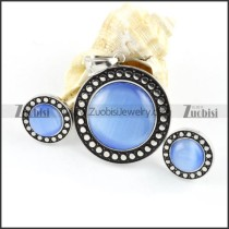 Light Blue Cat Eye Stone Stainless Steel jewelry set-s000061