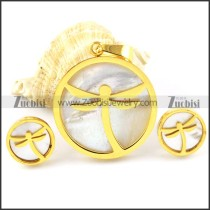 Yellow Gold Dragonfly Stainless Steel jewelry set-s000148