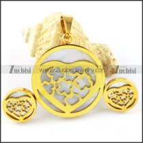 Yellow Gold Shell Heart Stainless Steel jewelry set-s000158