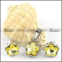 Clear Yellow Crystal Flower Stainless Steel Jewelry Set -s000102