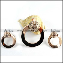 Rose Gold Rhinestone Ball Jewelry Set in Steel -s000008