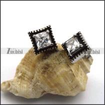 Stainless Steel Cubic Zircon Stud Earring e001053