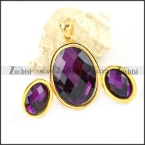 Gold Stainless Steel jewelry set with Purple Faceted Stone -s000066