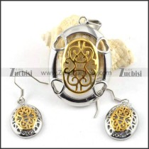 Two Plating Tones Stainless Steel jewelry set with heart theme -s000025