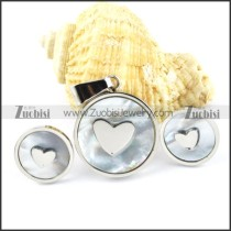 Shell Stainless Steel Heart Jewelry Set -s000143