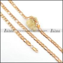 8mm rose gold necklace and bracelet set s000821