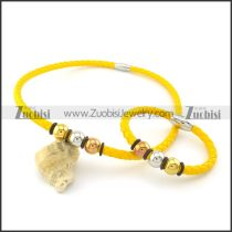 bright-coloured yellow leather jewelry set can wholesale stainless steel jewelry in guangzhou s000749