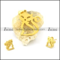 gold kitty pendant and earring s000849