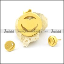 gold plated heart jewelry set s000847