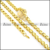 8mm gold plated necklace and bracelet s000825