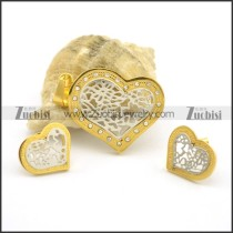Gold Hollow Heart Jewelry Sets s001044