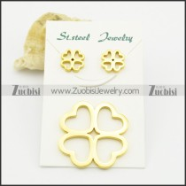 gold plating four-leaf clover pendant and earring set s000931