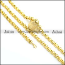 9MM Shiny Yellow Gold Box Chain Jewelry Set s001026