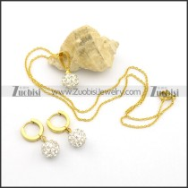 Gold Steel Clear Rhinestones Ball Earring Clip and Necklace Set s001046