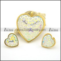 White Shiny Gold Dust Heart Jewelry Sets s001030