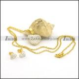 Clear Rhinestones Heart Charm and Earring Set s001048