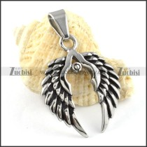 Double Stainless Steel Wing Pendant - p000163