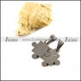 Silver Jigsaw Stainless Steel Couple Pendants - p000037