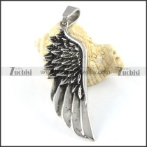 Straight Stainless Steel Wing Pendant - p000166