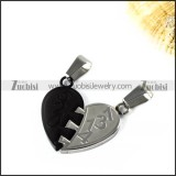 Black and Silver Couple Pendant in Stainless Steel - p000005