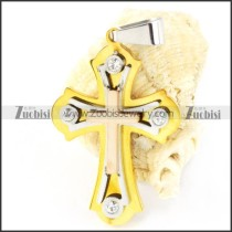 Yellow Gold Stainless Steel Cross Pendant - p000169