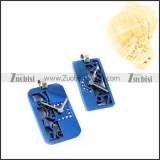 Blue Plated Clock Stainless Steel Couple Pendants - p000006