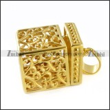 Gold Casting Box Pendant in Steel - p000089