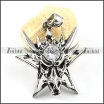 Crystal Zircon Stainless Steel Dragon Pendant - p000137