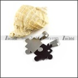 Black and Silver Jigsaw Stainless Steel Couple Pendants - p000038