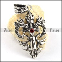 Double Dragon Stainless Steel Pendant with Red Rhinestone - p000184