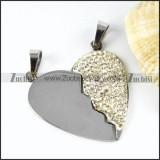 Rhinestone Heart Stainless Steel Pendant - p000002