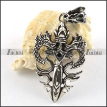 Double Dragon Stainless Steel Pendant with Black Rhinestone - p000185