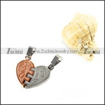 Two Tones Love Stainless Steel Pendant - p000004