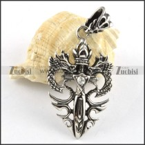 Double Dragon Stainless Steel Pendant with Clear Rhinestone - p000186