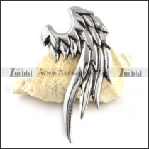 Crow Stainless Steel Feather Pendant - p000159