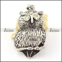 Stainless Steel Clear Rhineston Owl Pendant -p000640