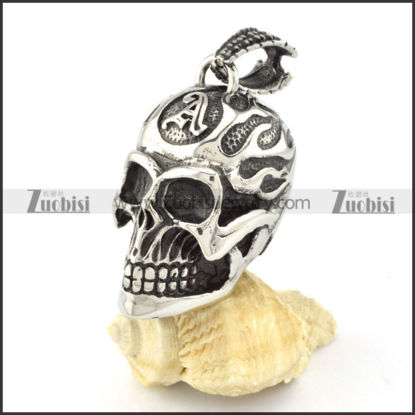good quality 3D Solid Stainless Steel Big Skull Pendant for Motorcycle Bikers - p000586