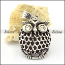Fat Stainless Steel Clear Crystal Owl Pendant -p000637