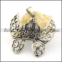 functional 316L Stainless Steel Flying Crown Pendants for tzarevich - p000478