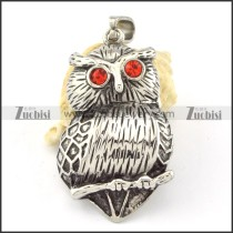 Stainless Steel Red Eye Owl Pendant -p000641
