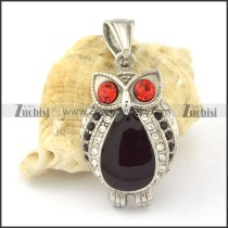 Stainless Steel Crystal Owl Pendant -p000654