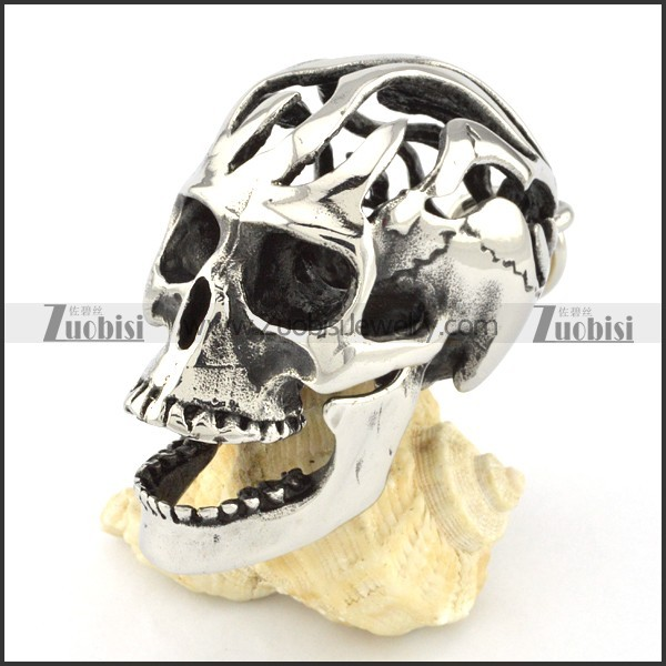 beautiful Hollow Stainless Steel Big Skull Pendant for Motorcycle Bikers - p000585